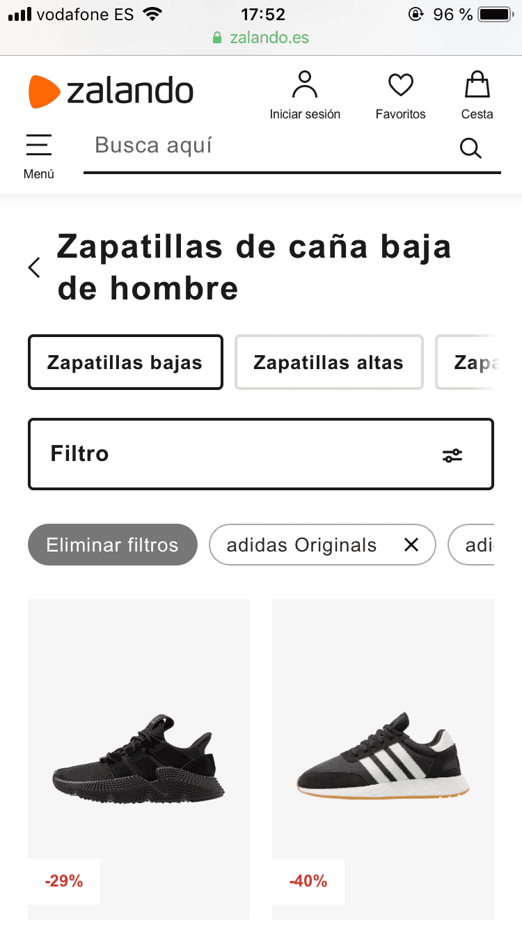 zalando.es offered the most complete filtering and searching experience.