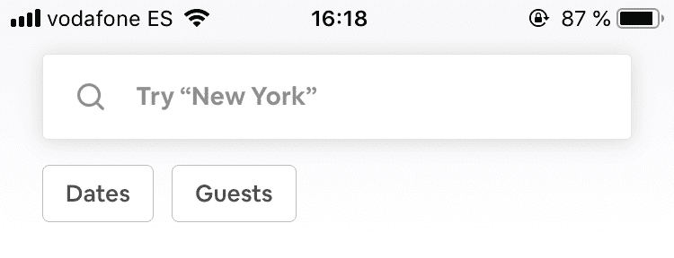 Airbnb shows their filtering options even when search is not active.