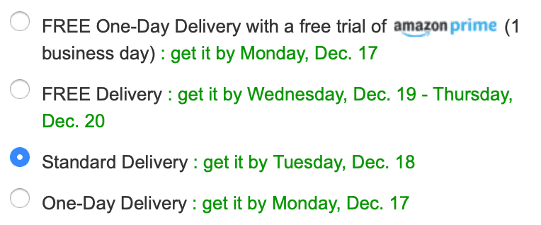Example of a correct implementation of delivery methods from amazon.co.uk.