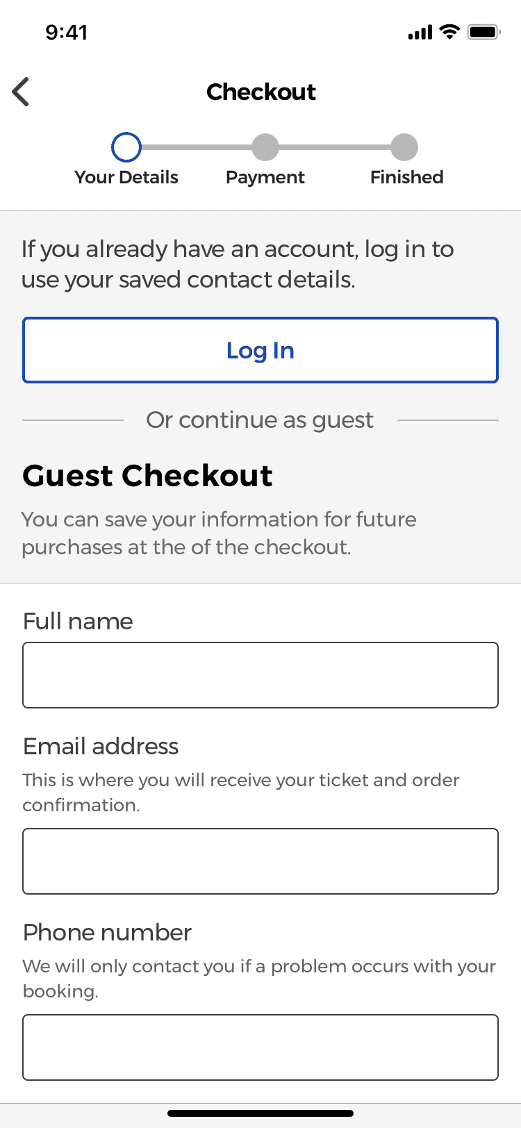 Users can sign in to use their saved personal information or as a guest, when booking a movie.